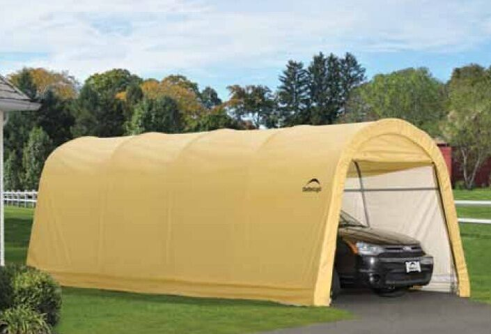 Portable Garage Replacement Covers : Shelterlogic round tan auto shelter portable