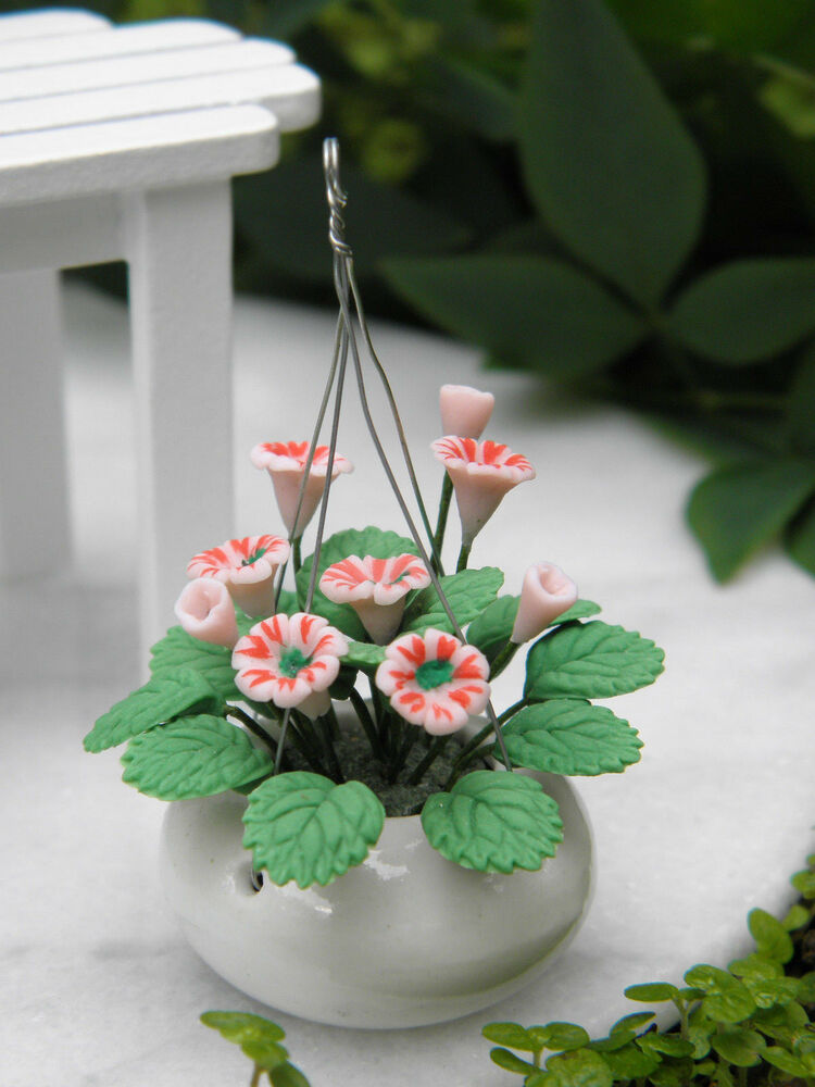 Miniature Dollhouse Fairy Garden Pink Flowers In White