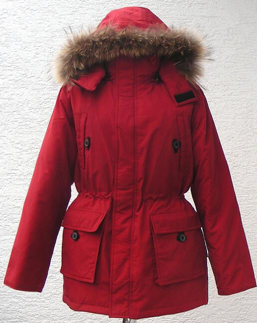 daunenjacke winterjacke damen in rot mit kapuze pelz parkas outdoor bl1001a ebay. Black Bedroom Furniture Sets. Home Design Ideas