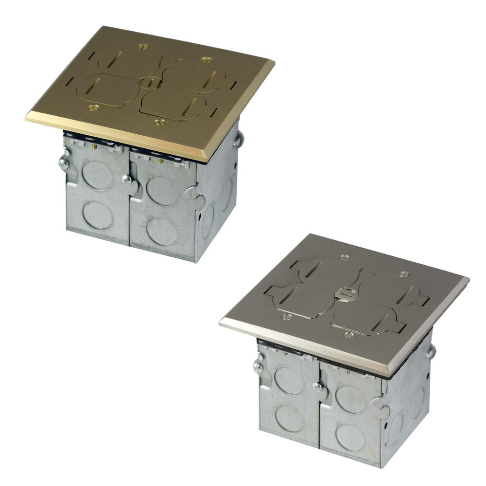 2 gang square electrical floor box kit receptacle outlet for Floor receptacle
