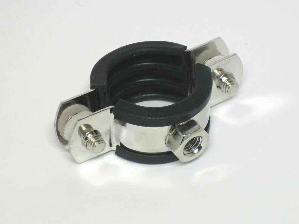 Stainless steel pipe clamps with rubber inserts made of