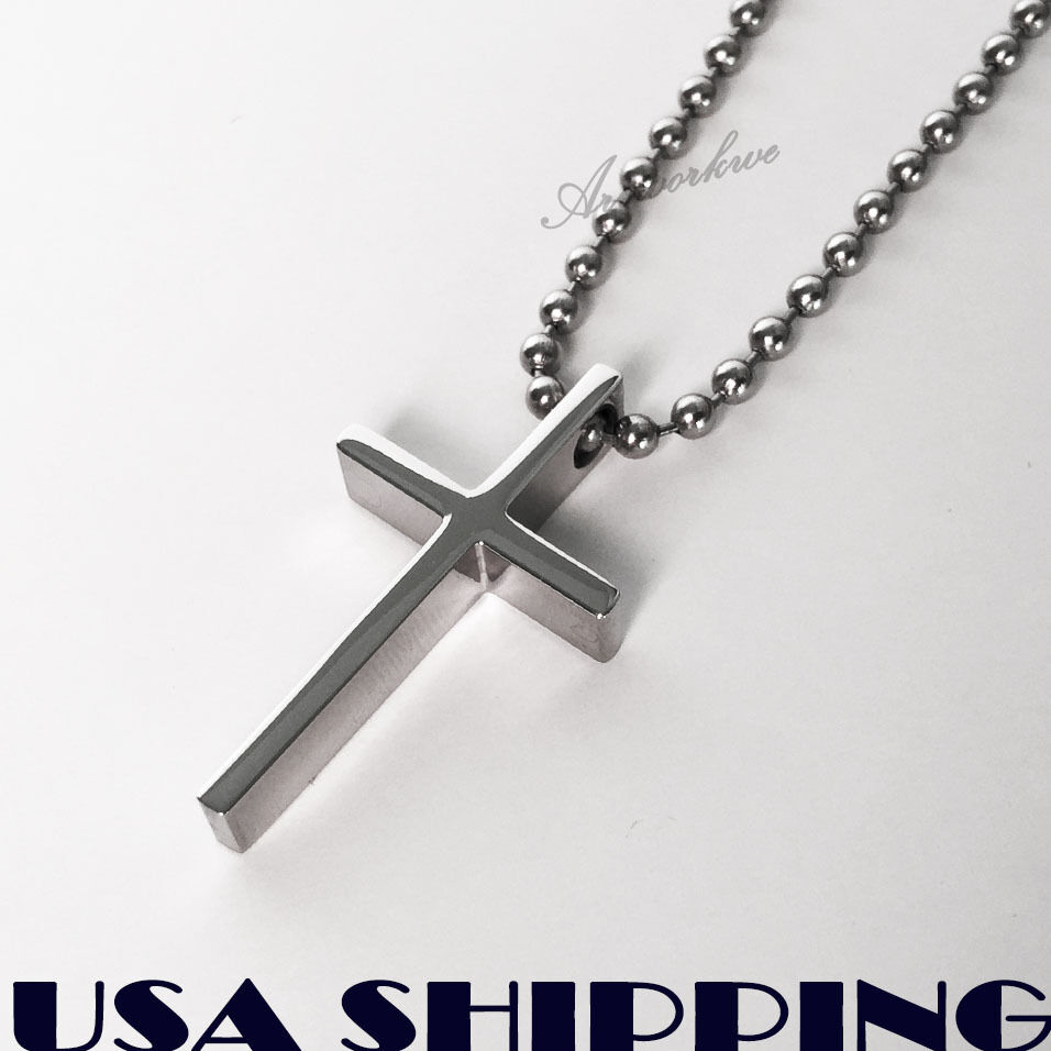 Crucifix Necklace Womens: Small Polished Stainless Steel Crucifix Cross Mens