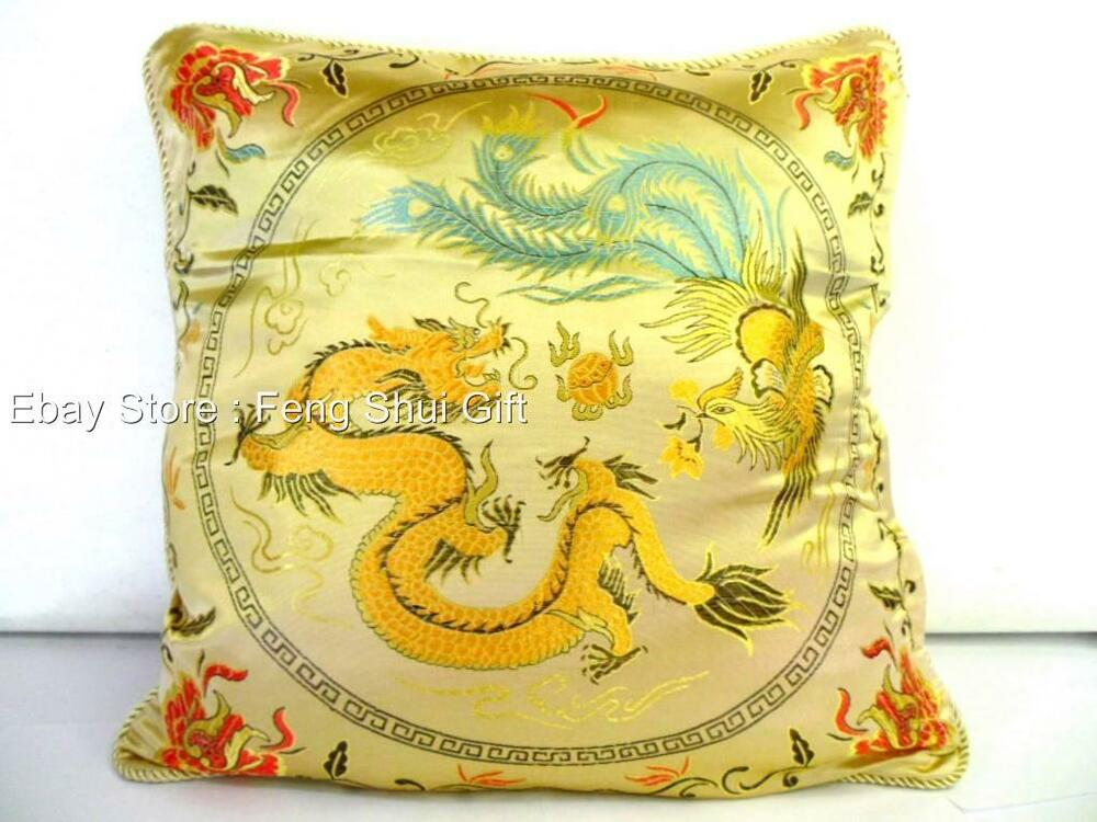 Gold chinese oriental pillow cushuion case home decor sofa for Oriental sofa designs