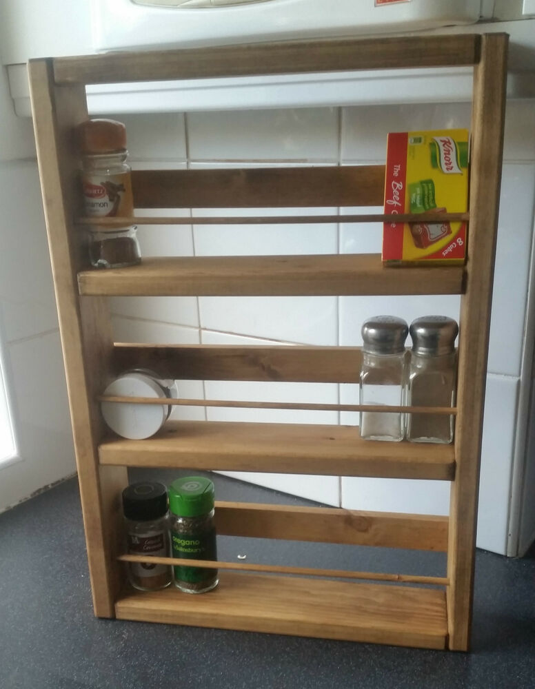 Chunky wooden spice rack fittings hand crafted h cm