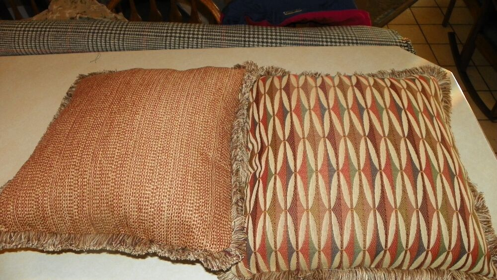 Pair of Rust Beige Burgundy Abstract Print Chenille Throw Pillows 20 x 20 eBay