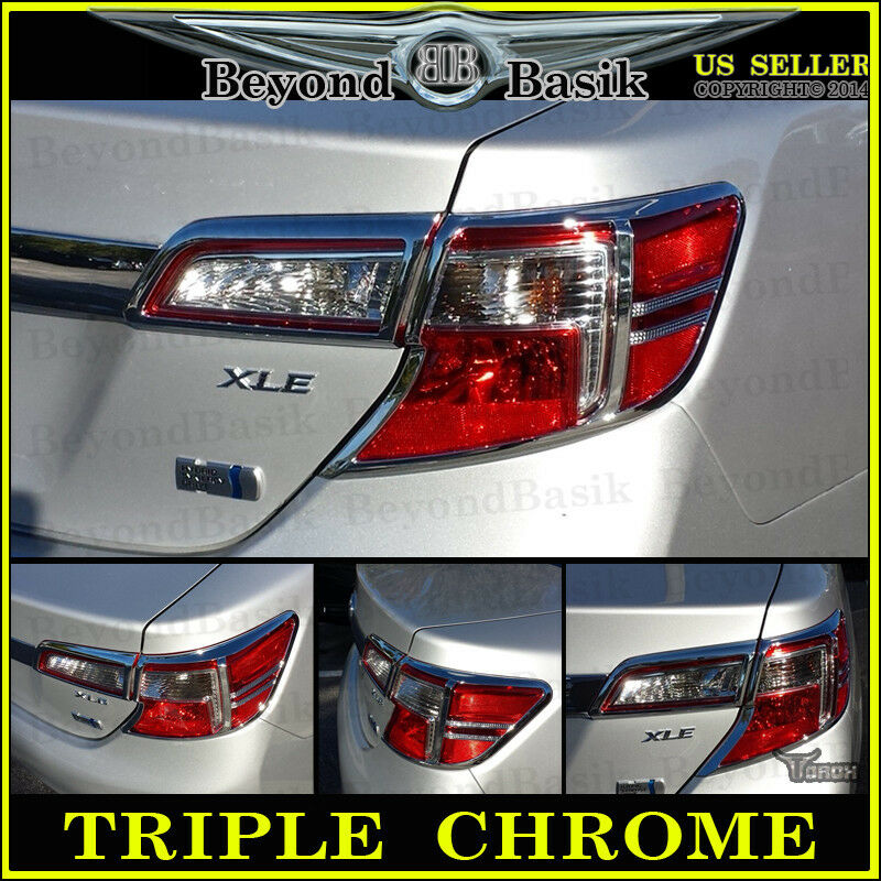 2012 2014 toyota camry chrome 4piece tail light covers bezel trim overlay abs ebay. Black Bedroom Furniture Sets. Home Design Ideas
