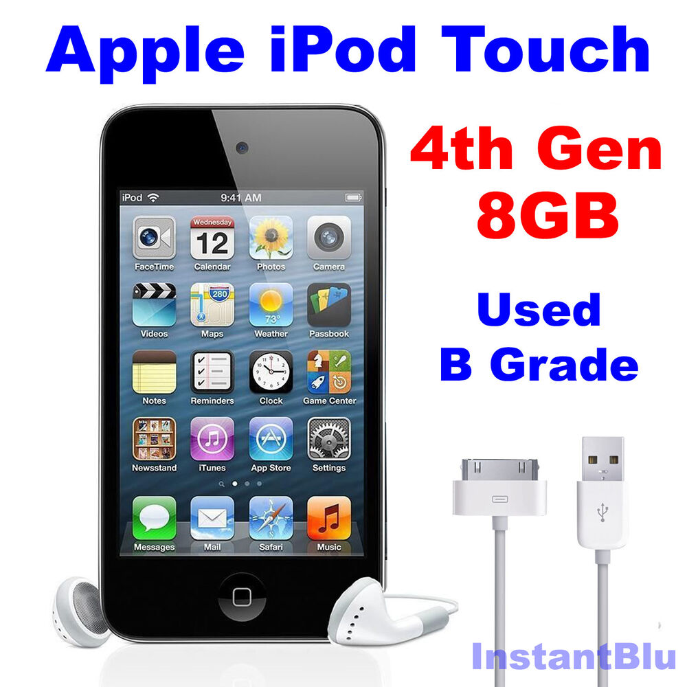 ipod touch 8gb 4th generation apple black used b grade mp3. Black Bedroom Furniture Sets. Home Design Ideas