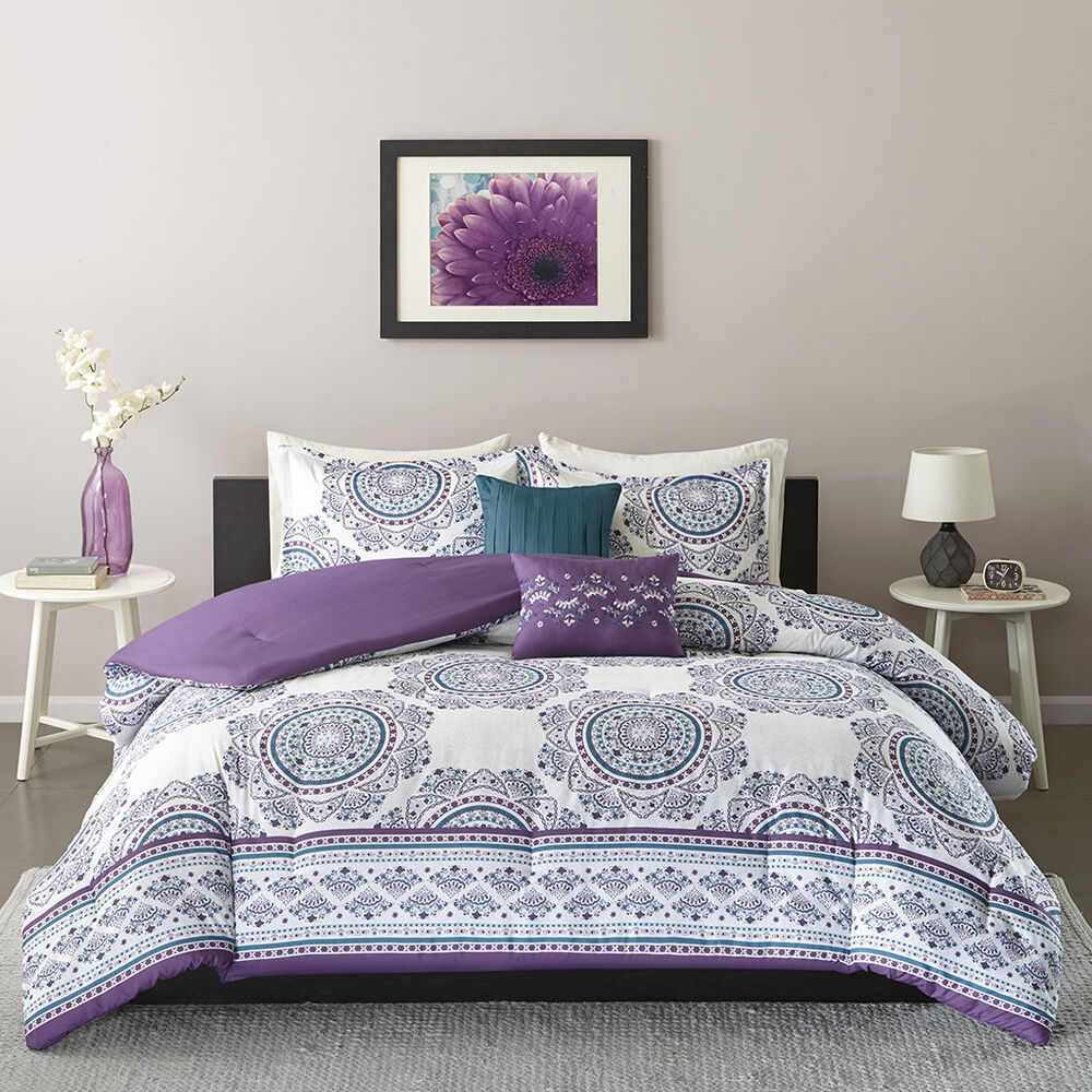 Beautiful modern tropical exotic bohemian chic teal blue - Purple and blue comforter sets ...