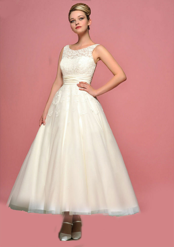 2015 white ivory a line lace tea length bridal dress for Wedding dresses made in uk