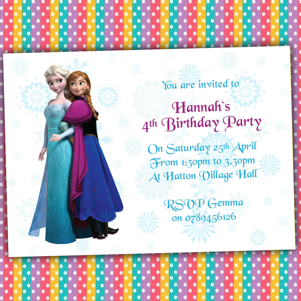 Personalised Birthday Party Invitations Elsa And Anna