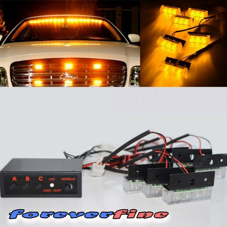 6x module 18 amber led emergency warning flash strobe light kit ebay. Black Bedroom Furniture Sets. Home Design Ideas