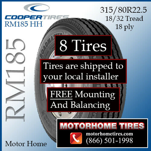 315 80 22 5 motor home tires includes shipping for Ebay motors shipping company
