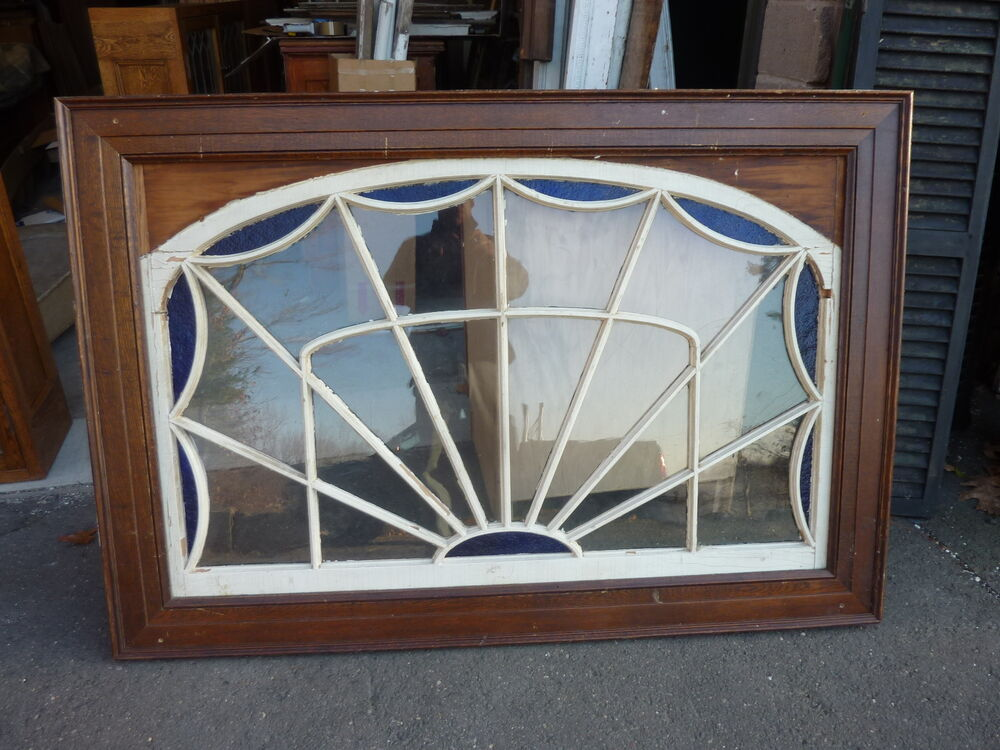 Huge Gable End Stain Glass Arched Window Oak Frame