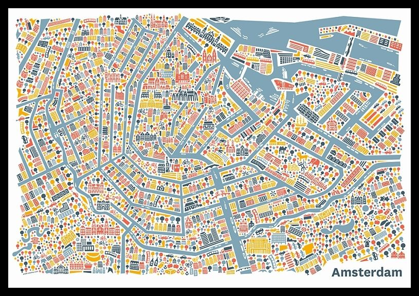 amsterdam stadtplan poster vianina poster bild kunstdruck im alu rahmen 70x100cm ebay. Black Bedroom Furniture Sets. Home Design Ideas