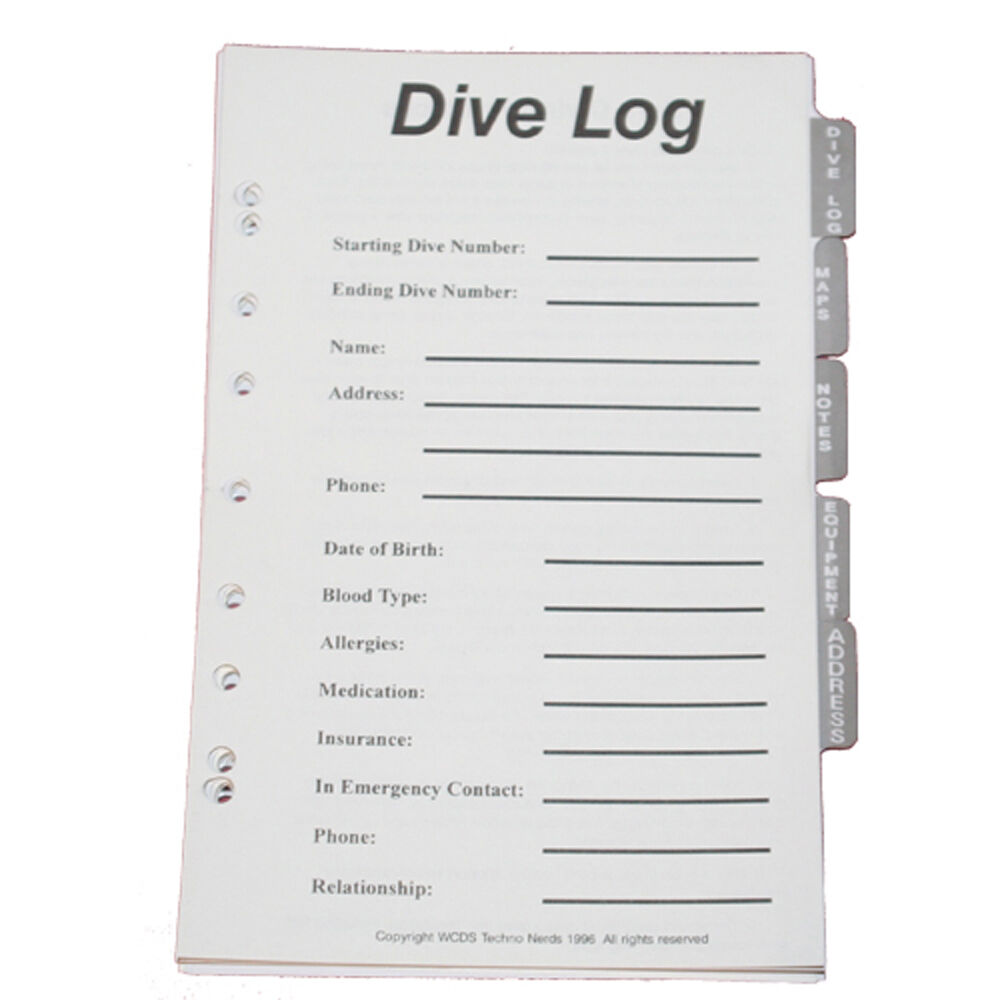 JCS Dive Log Organizer Pages For 3-Ring Binder Dive Log