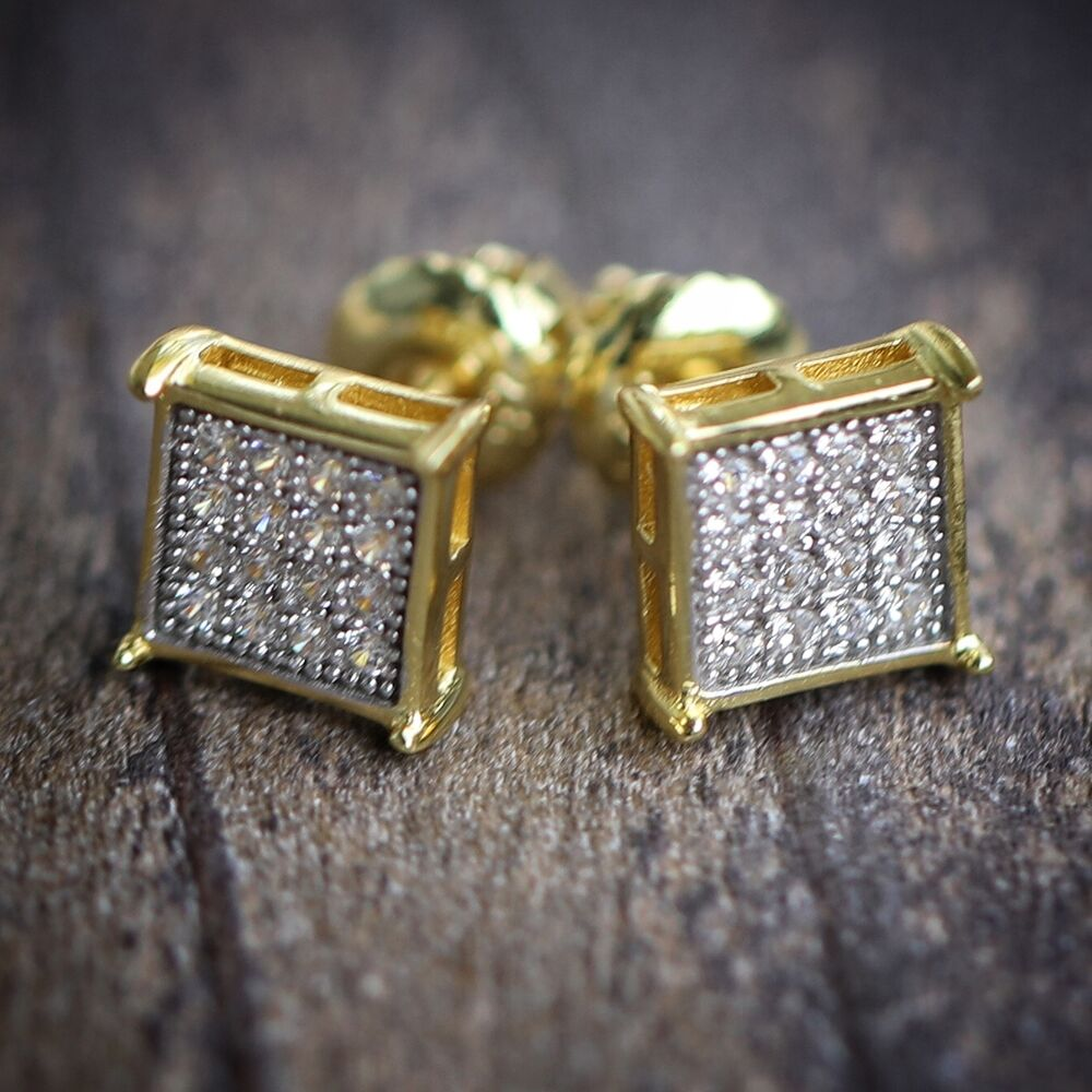 icedout earrings mens 14k gold block square hip hop iced out earrings ebay 2830