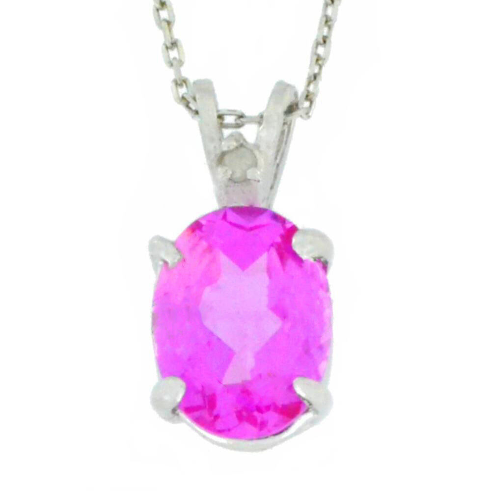 2 5 Carat Pink Sapphire & Diamond Oval Pendant 925 Sterling Silver