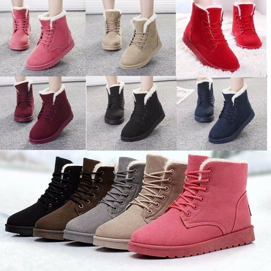 Women's Flat Lace Up Faux Fur Lined Winter Boots Snow Ankle ...