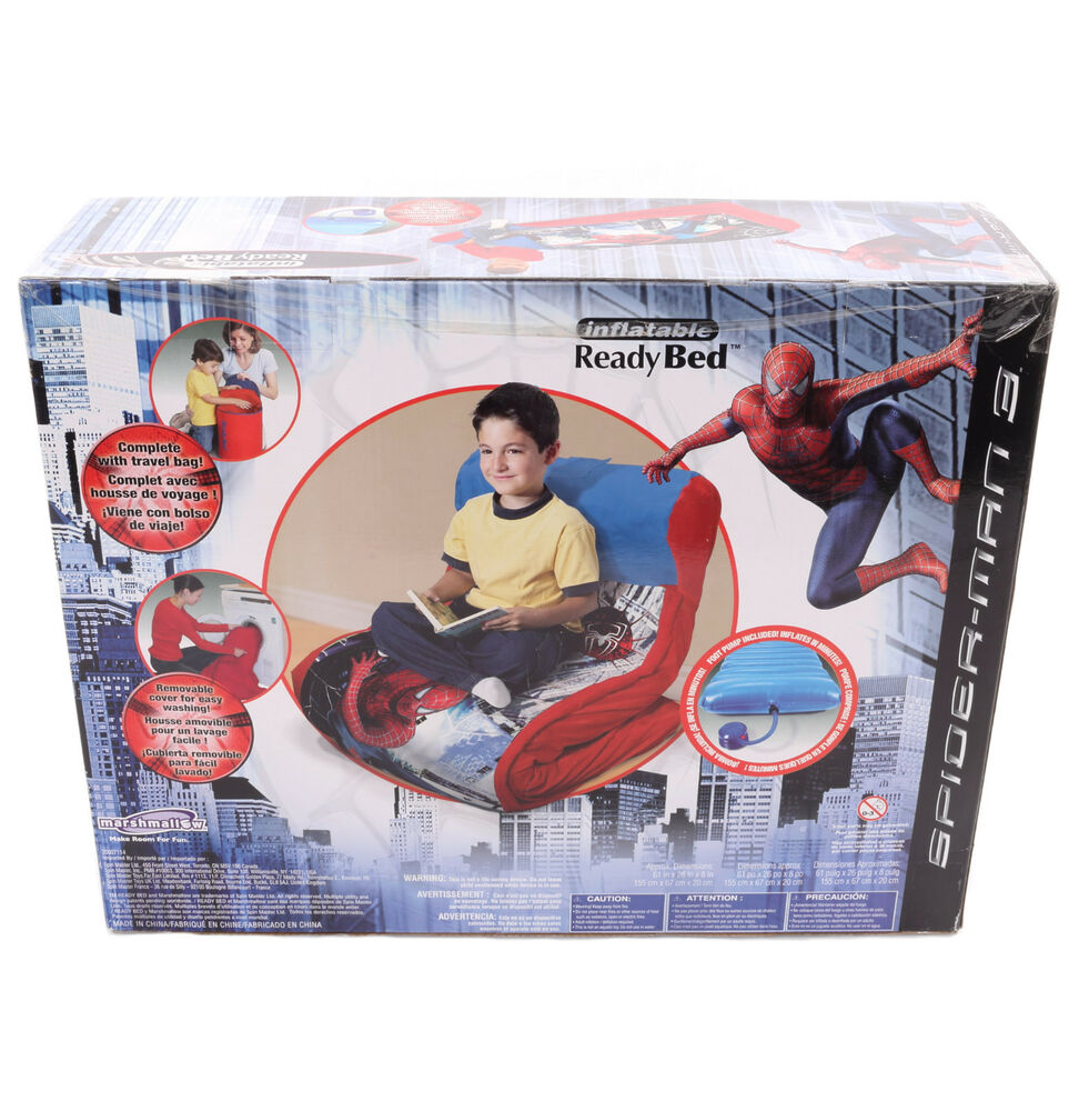 New Spiderman Children Kid Boy Ready Ez Bed Air Mattress