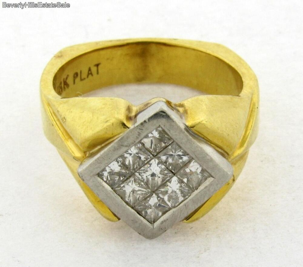 Yellow Gold Diamond Platinum: Vintage Designer 18k Yellow Gold Platinum Princess Cut