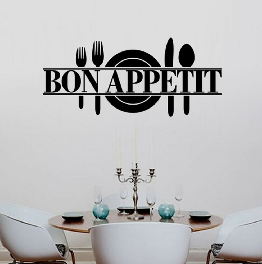 Removable kitchen dining room decor bon appetit decals for Kitchen and dining room wall decor