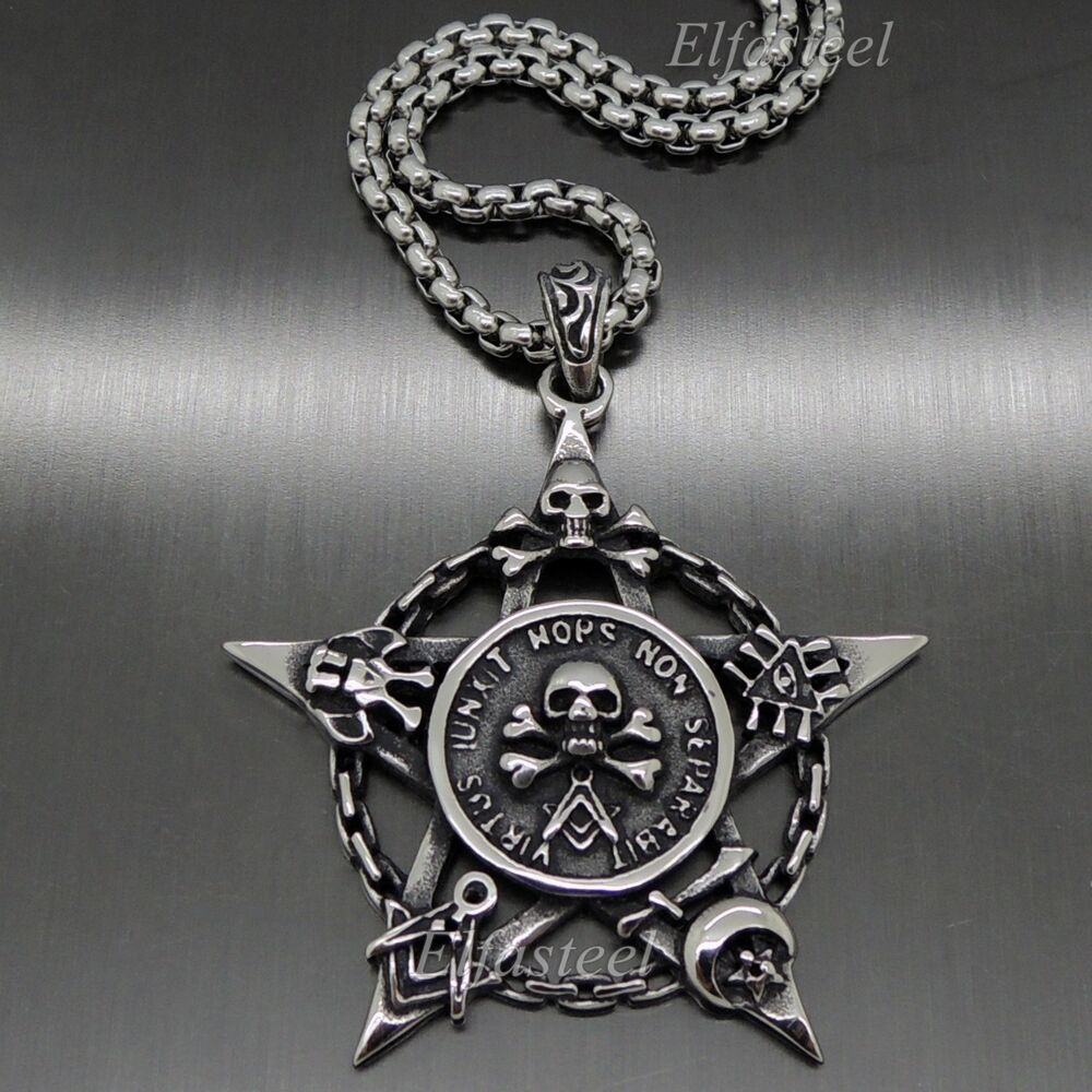 Men 39 s skull pentacle moon star masonic magic stainless for Stainless steel jewelry necklace