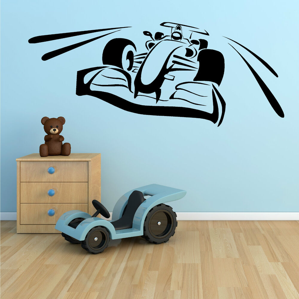 F1 racing car vinyl wall art sticker room decal motorsport for Autocollant dcoratif mural