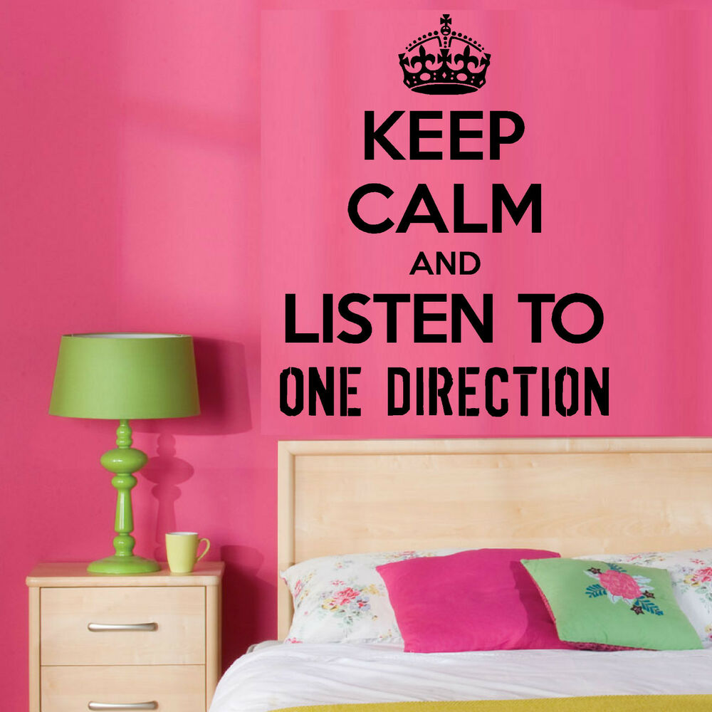keep calm and listen to one direction 1d vinyl wall art room sticker music decal ebay. Black Bedroom Furniture Sets. Home Design Ideas