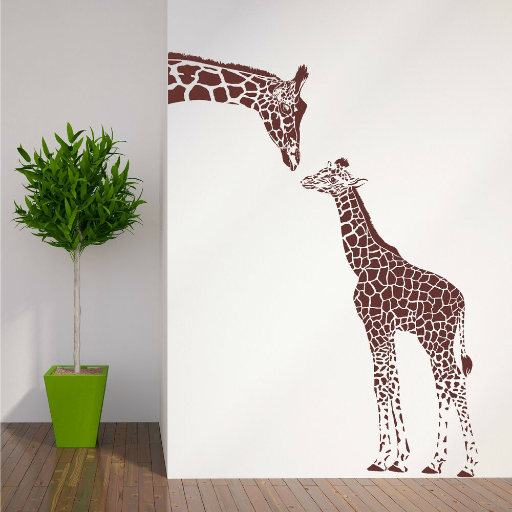 Giraffe and baby giraffe wall art room sticker vinyl decal - Stickers girafe chambre bebe ...