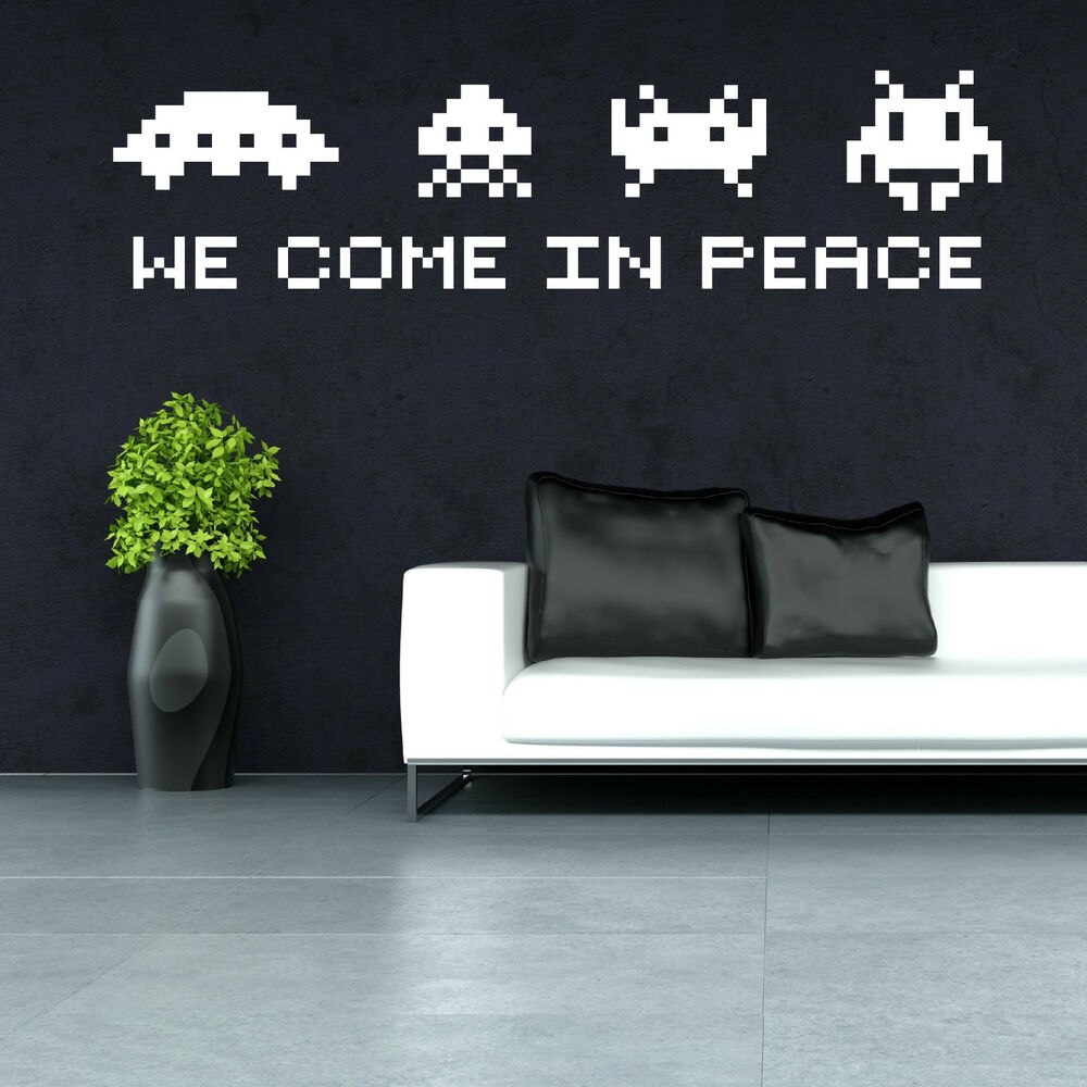 Space invaders we come in peace vinyl wall art sticker decal ebay - Space invader wall stickers ...