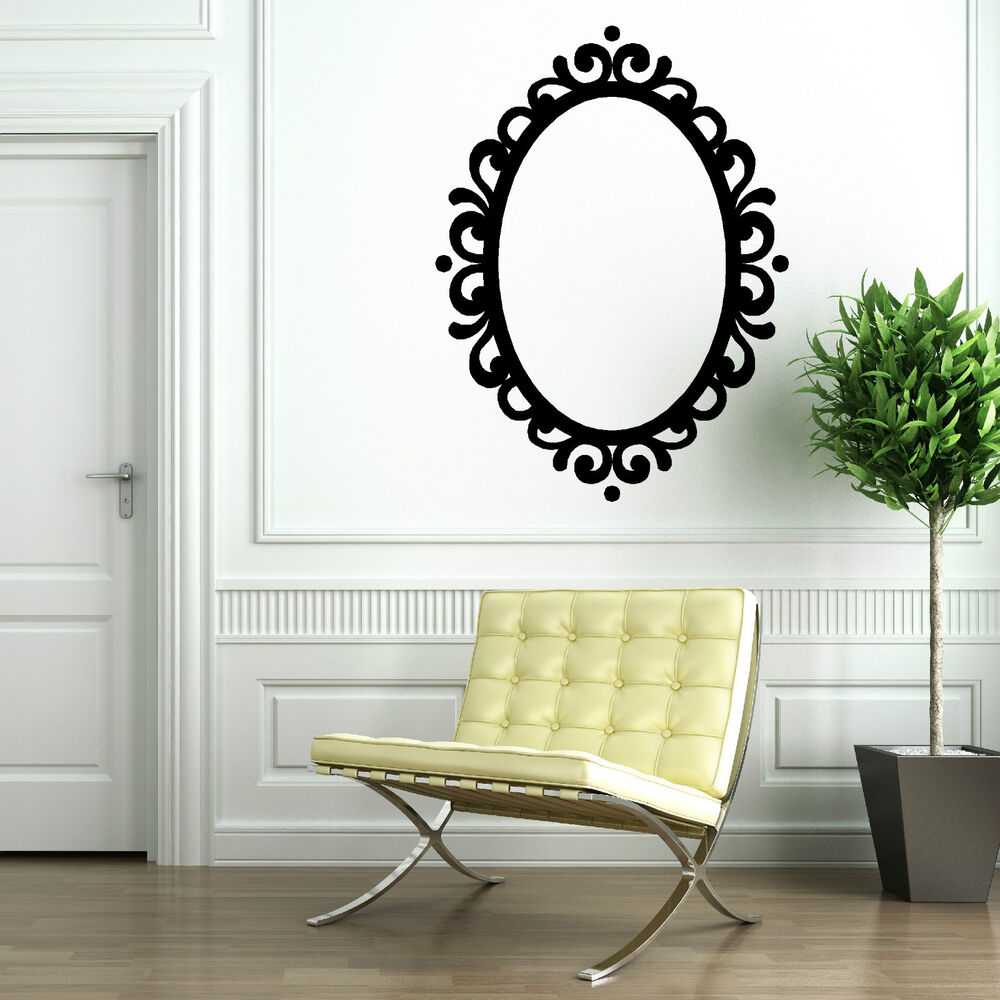 Picture frame oval mirror decorative contempory vintage vinyl wall art sticker ebay - Oval wall decor ...