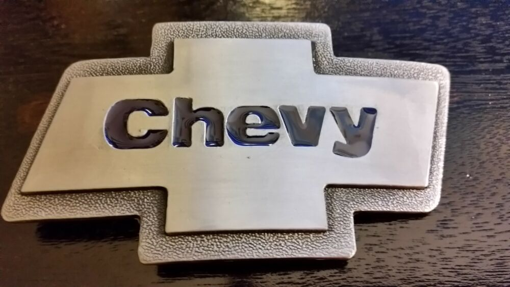 SIlver brushed Color Classic CHEVY logo Belt Buckle t