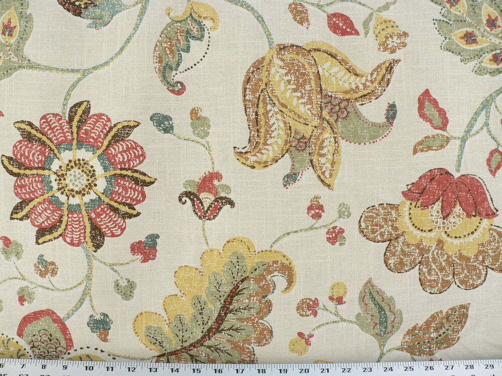Drapery upholstery fabric mottled floral leaf design on for Floral upholstery fabric