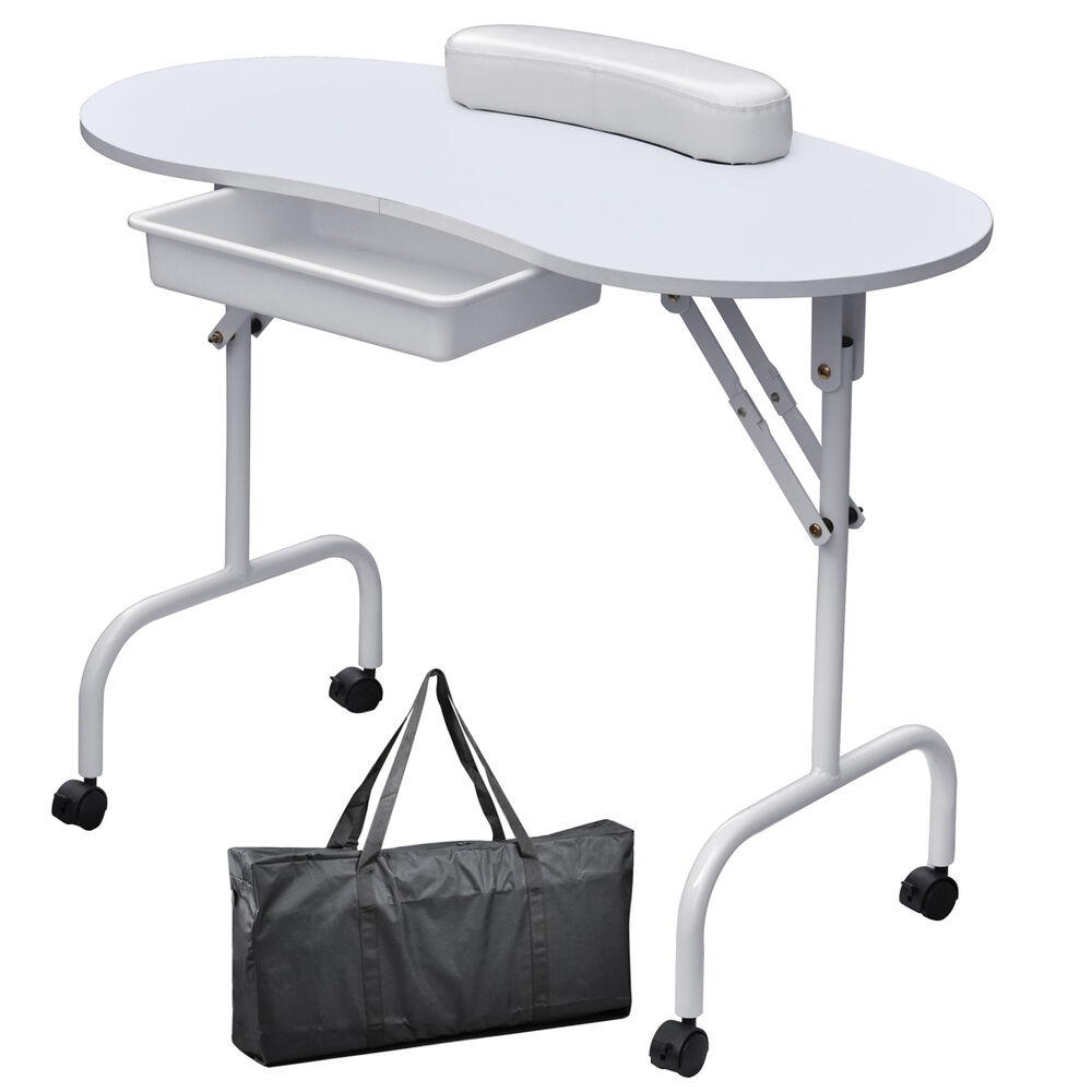 New white portable manicure nail table station desk spa for Beauty spa equipment