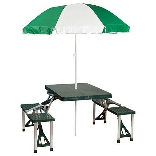 Folding Picnic Table Portable Umbrella Set Patio Outdoor