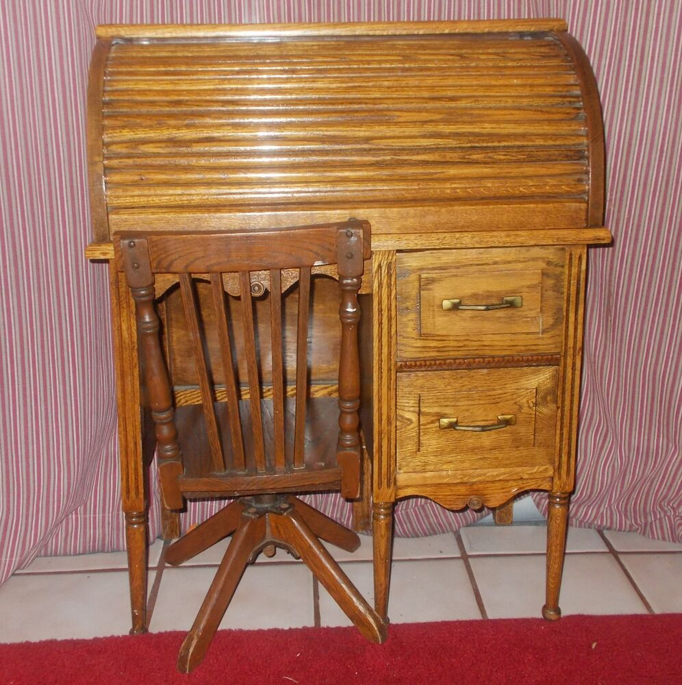 antique children s rolltop desk and matching chair ebay