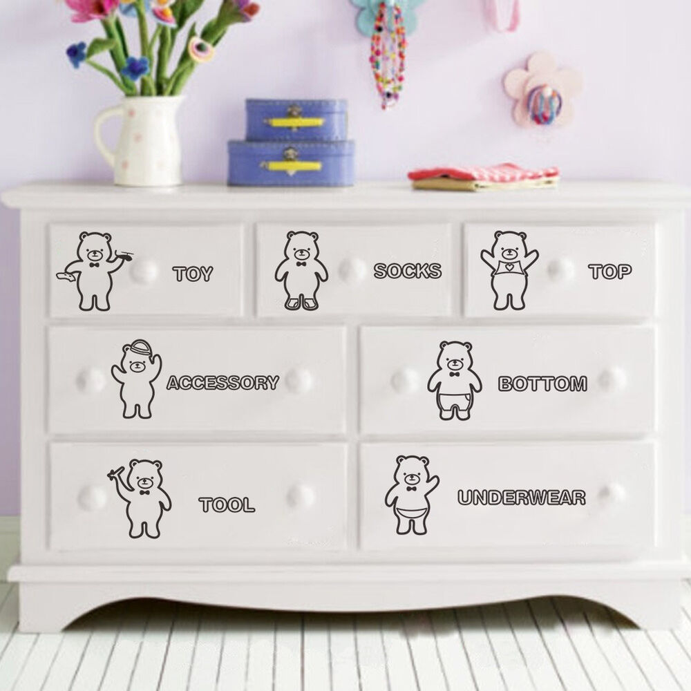 Wall stickers decal 7 bear sorting clothing bin wardrobe for Meuble mural wall