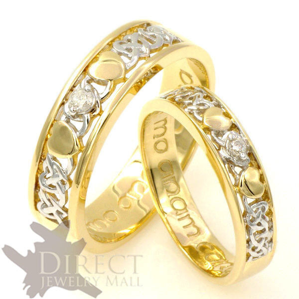 9ct Gold Diamond Celtic Heart Mo Anam Cara His Her Wedding