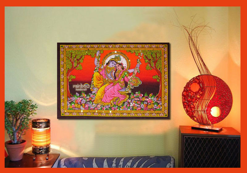 Wall Decor Radha Krishna : Hindu krishna radha swing sequin wall hanging indian