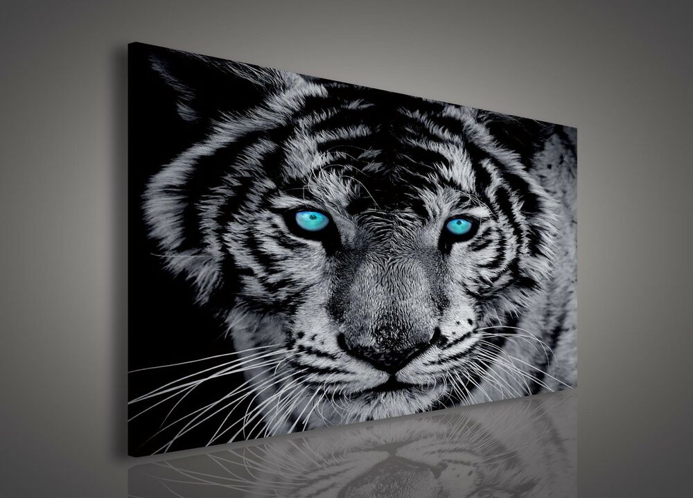 leinwand bild wandbild bilder pp130ao1 tiger schwarz wei tiere 100x75cm ebay. Black Bedroom Furniture Sets. Home Design Ideas