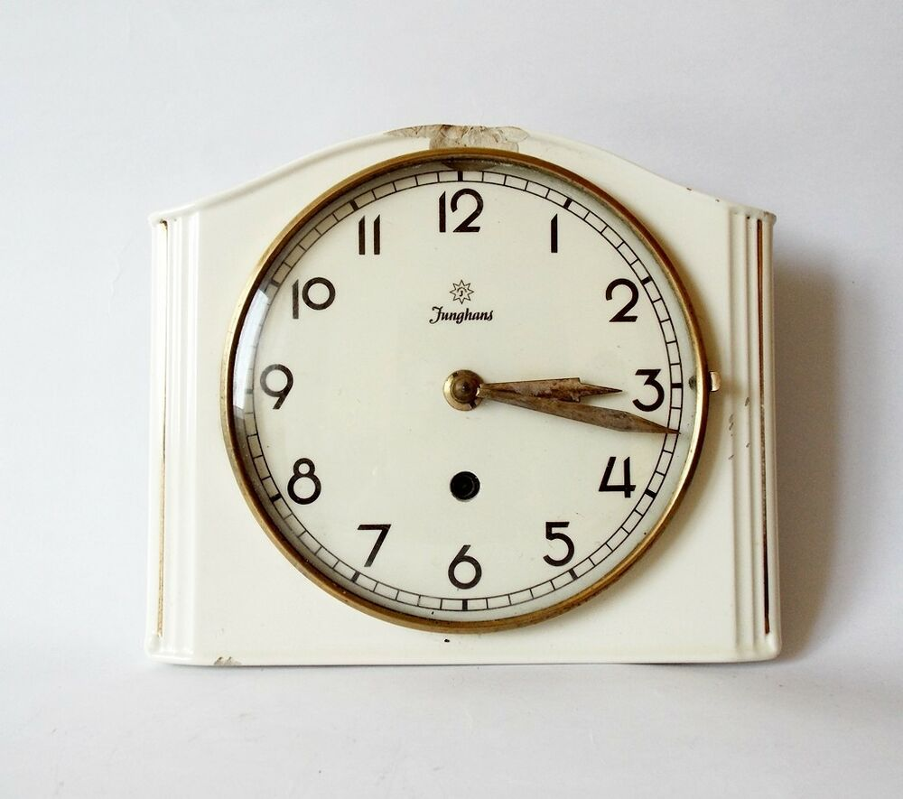 Vintage Art Deco Style 1950s Ceramic Kitchen Wall Clock