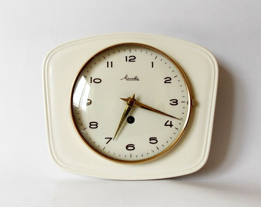 Vintage Art Deco Style 1960s Ceramic Kitchen Wall Clock