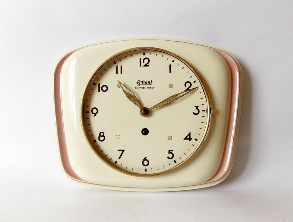 Vintage Art Deco Style 1940s Ceramic Kitchen Wall Clock