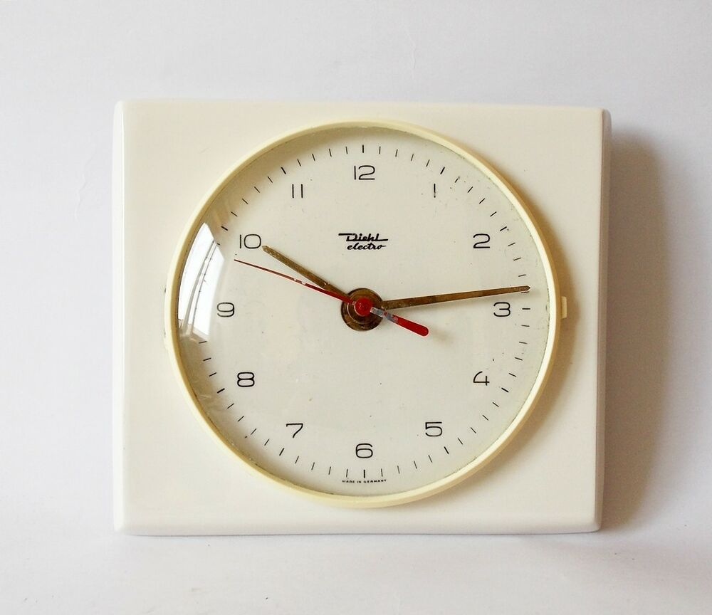 Vintage Art Deco Style 1970s Ceramic Kitchen Wall Clock