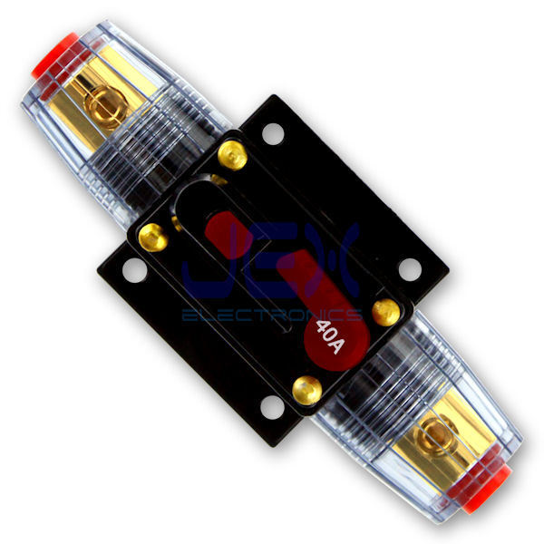 40 amp in line circuit breaker stereo audio car rv 40a 40amp fuse 12v 24v 32v ebay. Black Bedroom Furniture Sets. Home Design Ideas
