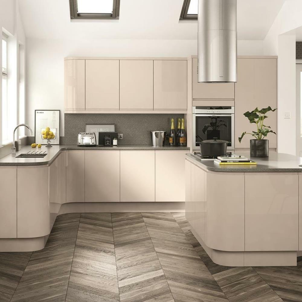 Cream Kitchen Doors: Fitted Kitchen Units Handleless Cream Gloss