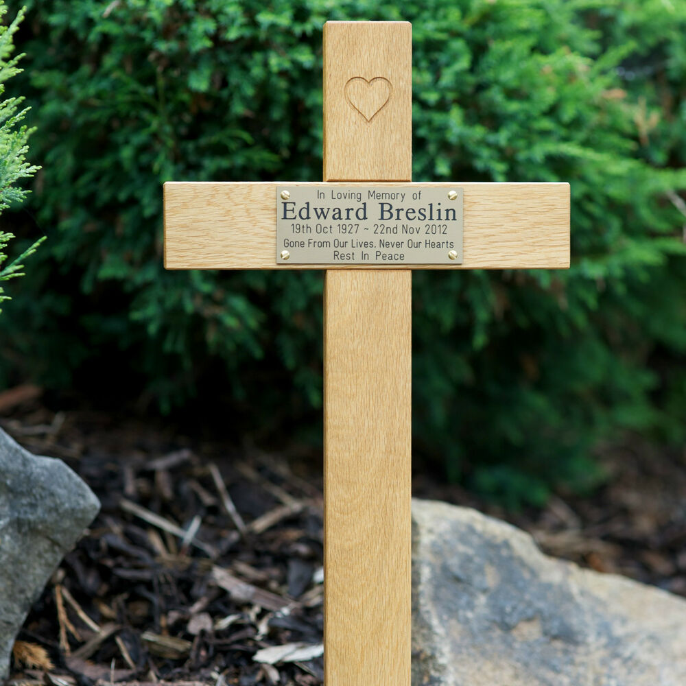 Quot tall oak carved heart wooden memorial cross engraved