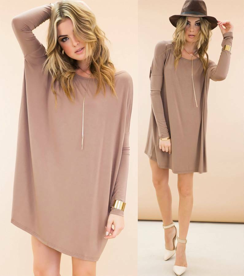 Authentic piko bamboo taupe long sleeve scoop neck tunic for Is a tunic a dress or a shirt