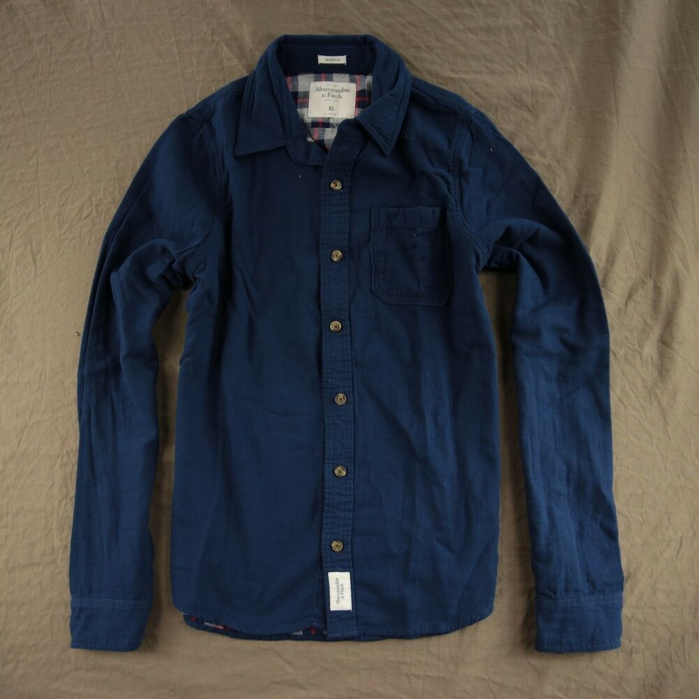 Abercrombie fitch men 39 s flannel shirt button down navy for Mens xl flannel shirts