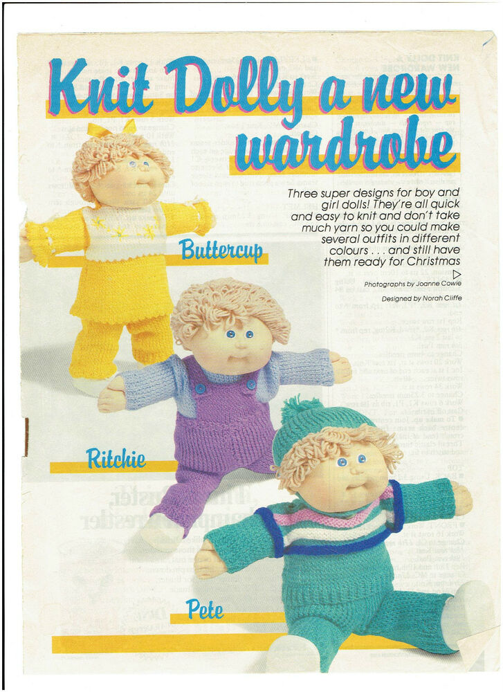 Knitting Pattern For Cabbage Patch Doll Clothes : CABBAGE PATCH DOLL - doll knitting complete wardrobe ...